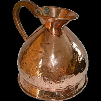 English Copper Haystack Measure Ale Jug Antique circa 1790, 2 gallon hand forged