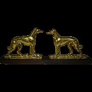 English Brass Greyhound Dogs Pair