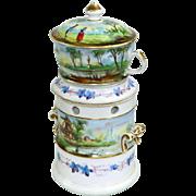 Antique Old Paris French Porcelain Tisaniere Veilleuse Teapot Warmer 1800's