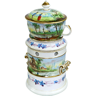 Old Paris French Porcelain Tisaniere Veilleuse Teapot Warmer 1800's