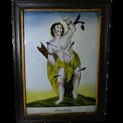 "Antique 19th C Saint Sebastian Icon Reverse Painted Glass Picture 18"" x 13.5"""
