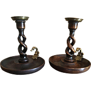 "Pair 6"" Antique English Oak Open Barley Twist Candlesticks Dog Motiff"