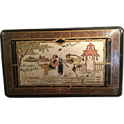 French Napoleon III Black Lacquer Chinoiserie Papier Mache Box Paris
