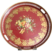 French Hand Painted Tole Toleware Tray Red Floral 17 3/4""