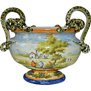 Majolica Hand Painted Dutch Jardiniere Marked M Pastoral