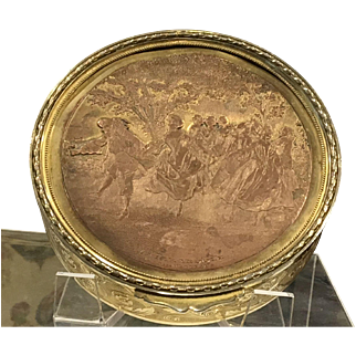 French Vanity Trinket Box Gilded with Copper Decorated Lid