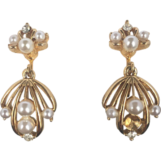 Rhinestone and Faux Pearl Clip Earrings