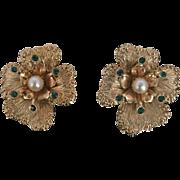 Sarah Coventry Goldtone Flower Clip Earrings