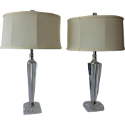 Pair Tapered Crystal Lamps, Vintage c1965