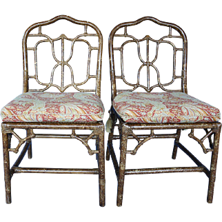 Chinese Chippendale Style Faux Finished Rattan  Chairs.