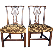 Pair of George III Carved Mahogany Chairs