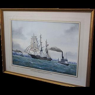 """Watercolor, Californian Clipper """"Black Prince"""""""
