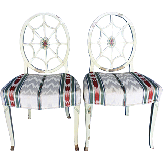 """Pair Sheraton, """"Spider Web """" Back Side chairs c.1785"""