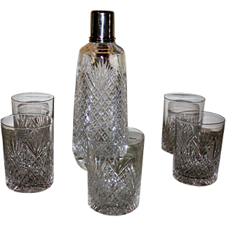 Cut Glass Shaker with six whiskey tumblers T. G. Hawkes c. 1890