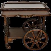 Mahogany wheeled Bar, Serving Cart. Vintage American
