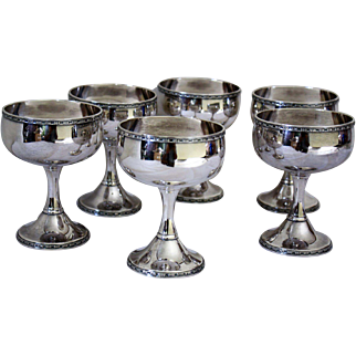 "set of 6 vintage Wilcox 4 3/4"" tall x  3 1/2"" diameter goblets"