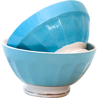 2 French Cafe au Lait Bowls - Pretty Turquoise Blue - 1940s - Country Kitchen