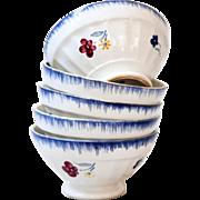 3 Vintage French Cafe au Lait bowls - Digoin Mary Lou 1920s - Medium Size