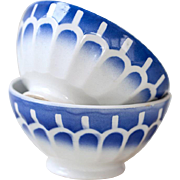1940s French Cafe Au Lait Bowls - Set of 2 Large Size - White and Blue Geometrical Pattern