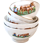 5 French Vintage Cafe au Lait Bowls - Farm and Cows - Country and Farmhouse Style