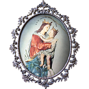 Vintage French Virgin Marie and Baby Jesus Oval Convex Glass and Brass Frame - Corsica Church