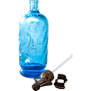 1920s French Blue Glass Siphon / Seltzer Bottle