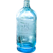 1930s French Blue Glass Siphon / Seltzer Bottle