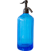 1950s French Blue Glass Siphon / Seltzer Bottle - Heavy Glass - Damaged