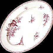 Early 1900s Ironstone Large Platter - Sarreguemines Favori - Red / Pink Transferware