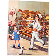 """1920s Color Print - Lithography - Pretty Color - Bakery Scene - 16"""" x 12"""""""