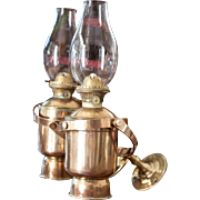 2 Vintage Brass Oil Lamps - Wall Mount and Mouth Blown Chimneys - Tung Woo Hong Kong