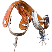Gorgeous Mexican Spurs With Leather Straps and Hand Carved Silver Plated Bars