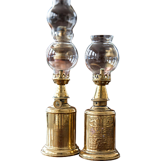1930s French Brass Oil Lamp - Lampe Pigeon - Set of 2 - Country Chic Decor