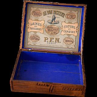Early 1900s French Wooden Retail Box - Au Bon Pasteur - Wool and Threads - Au Bon Pasteur