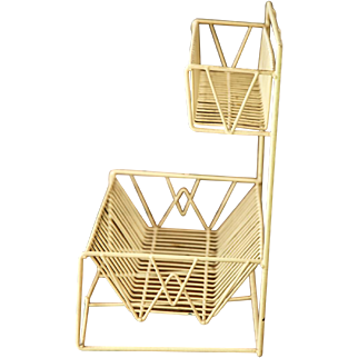 Vintage French Drying Rack - Pastel Yellow Color - With Vintage Tea Towel