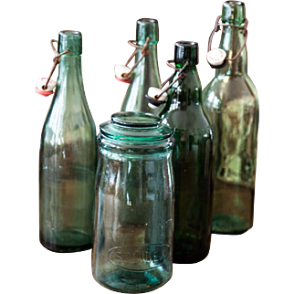 Vintage French Green Bottle and Canning Jar - Set of 5  - Mid Century
