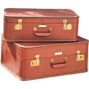 1950s Suitcase Set of 2 - Brown Train Case Luggage Set with Keys - Very Clean