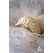 Vintage Wedding Veil and Blush - Shabby Chic Ivory Lace and Pearls Headpiece - Grace Kelly Style