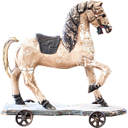 Early 1900s Wooden Carousel Horse Toy - Ride on Pull Toy - Leather Saddle - Horse Hair Tail - Shabby Chic Decor