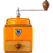 1950's Peugeot French Coffee Grinder / Mill - Bright Orange
