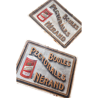 1930s French Advertising Cardboard - Boules Pectorales - Candies - Country Chic Decor