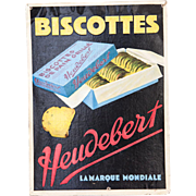 1940s French Cardboard Embossed Advertising - Heudebert Toasted Bread / Biscottes - Country kitchen