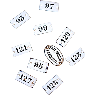 1940s French Numbers on Enamel / Porcelain Plates - Shabby Chic Project - Sold Individually