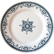 Early 1900s French Ironstone and Transferware Footed Plate - Creil et Montereau Amiral