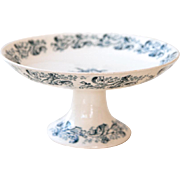Late 1800s French Ironstone Cake Stand - Blue Transferware - Longwy - Russe