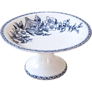 Late 1800s French Ironstone Cake Plate Stand - Blue Transferware - Sarreguemines Terre de Fer - Wallace
