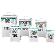 Complete Set of 6 Vintage French Kitchen Porcelain Nesting Canisters - Art Deco Period 1920s - St Amand