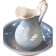 Stunning Late 1800s Italien Porcelain S C Richards Wash Basin and Pitcher Set - Duck Egg Blue - Elegant Shape