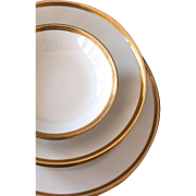 French Limoges Haviland - 12 Pieces Dinnerware 3 Place Settings - Schleiger 100a - Shabby Chic White and Gold