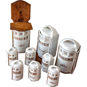 Set of 9 Vintage Lusterware Porcelain Kitchen Canisters - Made in Germany - Mother of Pearl - White and Gold